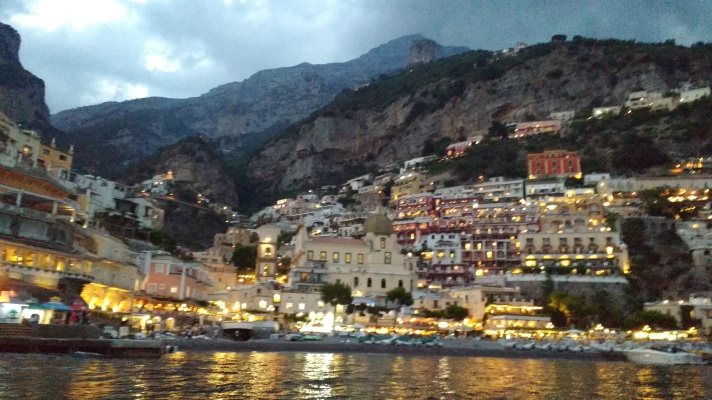 Positano at night, from the mooring buoy.