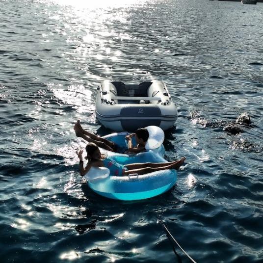 Having fun at anchor