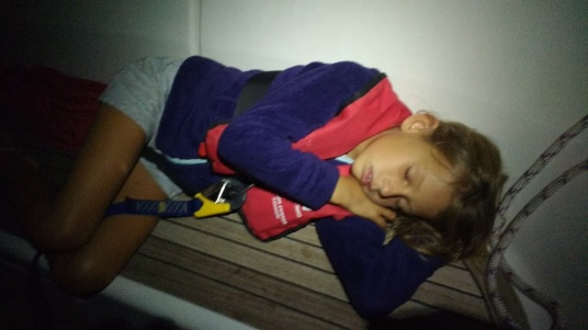 Little princess at overnight navigation