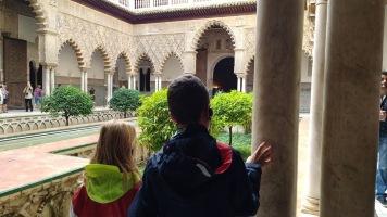 Kids visiting Sevilla Alcazar