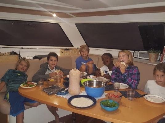 Soledad and Ventus crew having dinner