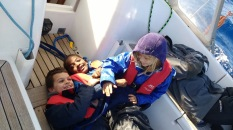 Kids having fun during the crossing