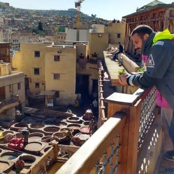 Soledad crew at Fez tannerie