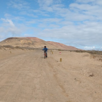 Yago biking in La Graciosa