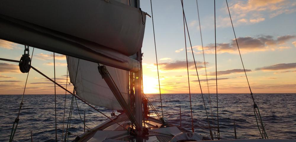Sailing in the Atlantic sea
