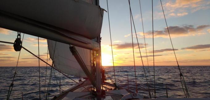 Sailing in the Atlantic sea