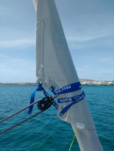 UV and self tacking plate on the staysail