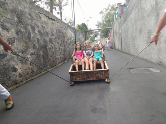 Dunia and Soledad kids at Madeira rollercoast