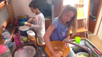 Live a board kids cooking