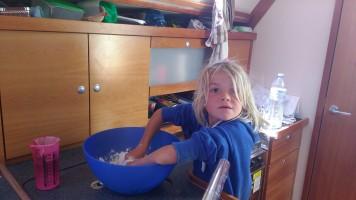 Kids making bread