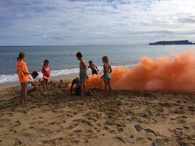 Kids testing smoke generator