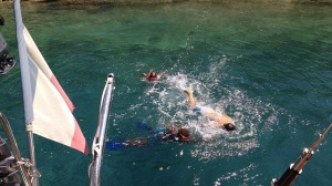 Anchorage swim at Paxos
