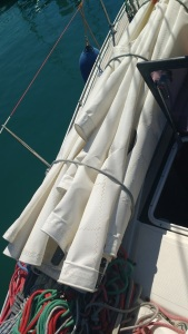 Preparing sails for wintering
